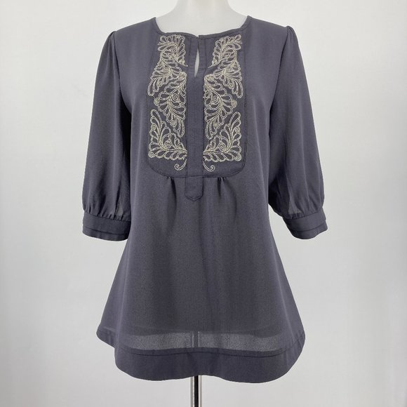 Stitch Fix Brixon Ivy Top Embroidered Gray Small